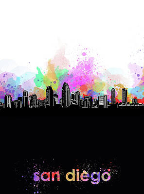 Abstract Skyline Royalty-Free and Rights-Managed Images - San Diego Skyline Minimalism 5 by Bekim Art