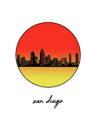Digital Art - San Diego Skyline Minimalism 6 by Bekim Art