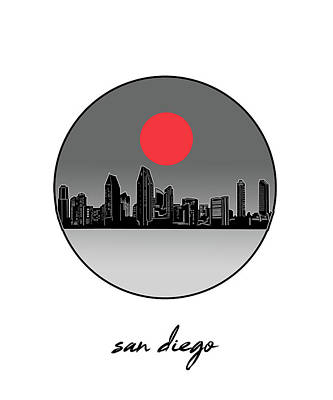 Digital Art - San Diego Skyline Minimalism 7 by Bekim Art