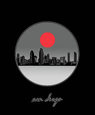 Digital Art - San Diego Skyline Minimalism 8 by Bekim Art