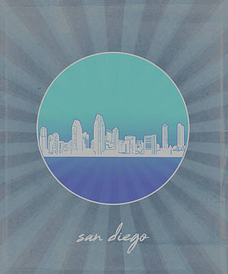 Abstract Skyline Royalty-Free and Rights-Managed Images - San Diego Skyline Minimalism 9 by Bekim Art