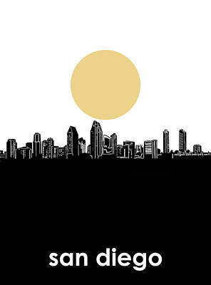Digital Art - San Diego Skyline Minimalism by Bekim Art