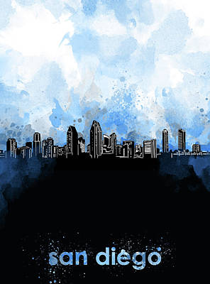 Digital Art - San Diego Skyline Minimalism Blue by Bekim Art