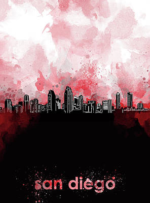 Abstract Skyline Royalty-Free and Rights-Managed Images - San Diego Skyline Minimalism Red by Bekim Art