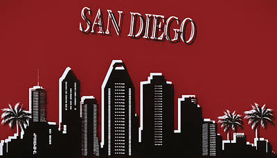 Mixed Media - San Diego Skyline Pop Art by Dan Sproul