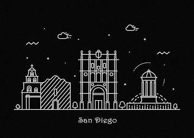 Drawing - San Diego Skyline Travel Poster by Inspirowl Design