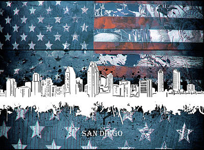 Abstract Skyline Royalty-Free and Rights-Managed Images - San Diego Skyline Usa Flag 2 by Bekim Art