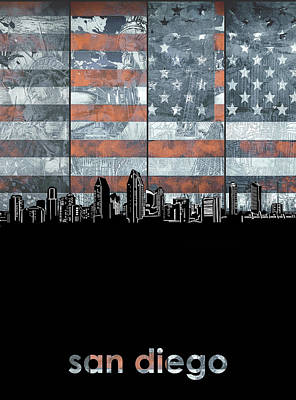 Digital Art - San Diego Skyline Usa Flag by Bekim Art