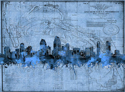 Abstract Skyline Royalty-Free and Rights-Managed Images - San Diego Skyline Vintage 2 by Bekim Art