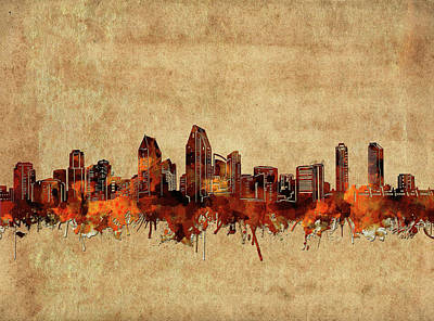 Abstract Skyline Royalty-Free and Rights-Managed Images - San Diego Skyline Vintage 3 by Bekim Art