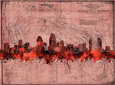Abstract Skyline Royalty-Free and Rights-Managed Images - San Diego Skyline Vintage 4 by Bekim Art
