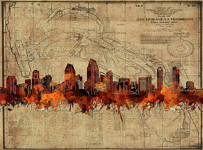 Abstract Skyline Royalty-Free and Rights-Managed Images - San Diego Skyline Vintage by Bekim Art