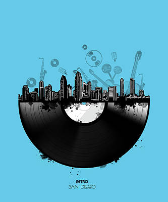 Abstract Skyline Royalty-Free and Rights-Managed Images - San Diego Skyline Vinyl 2 by Bekim Art