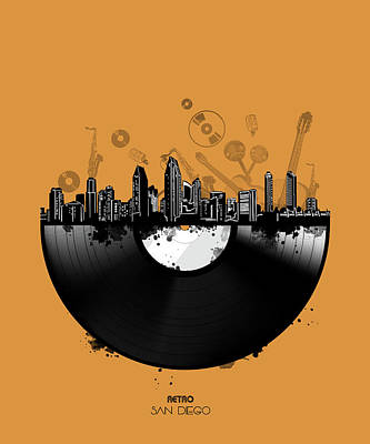 Abstract Skyline Royalty-Free and Rights-Managed Images - San Diego Skyline Vinyl 3 by Bekim Art
