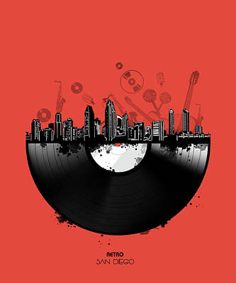 Digital Art - San Diego Skyline Vinyl 4 by Bekim Art