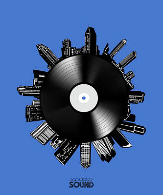 Digital Art - San Diego Skyline Vinyl 8 by Bekim Art