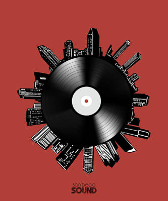 Digital Art - San Diego Skyline Vinyl 9 by Bekim Art