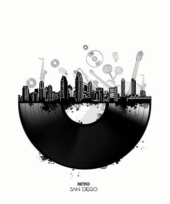 Digital Art - San Diego Skyline Vinyl by Bekim Art