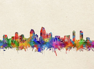 Abstract Skyline Royalty-Free and Rights-Managed Images - San Diego Skyline Watercolor 2 by Bekim M