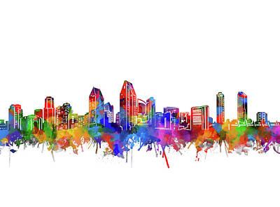Digital Art - San Diego Skyline Watercolor by Bekim Art