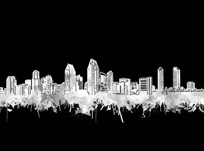 Digital Art - San Diego Skyline Watercolor Black And White 2 by Bekim Art