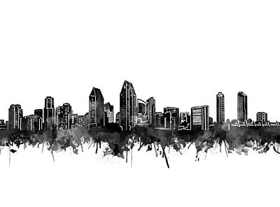 Abstract Skyline Royalty-Free and Rights-Managed Images - San Diego Skyline Watercolor Black And White by Bekim Art