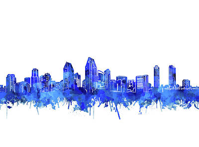 Abstract Skyline Royalty-Free and Rights-Managed Images - San Diego Skyline Watercolor Blue by Bekim Art
