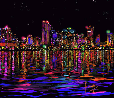 Painting - San Diego Stars by DC Langer