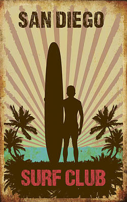 Digital Art - San Diego Surf Club by Greg Sharpe