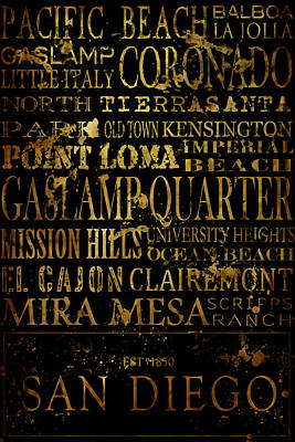 San Diego Typography Print by Tanya Harrison