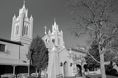 Photograph - San Felipe De Neri Church - Old Town Albuquerque New Mexico Black And White by Gregory Ballos