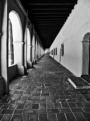 Photograph - San Fernando Valley Mission Arcade In Black And White by Glenn McCarthy Art and Photography