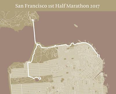 San Francisco Marathon Digital Art - San Francisco 1st Half Marathon #1 by Big City Artwork