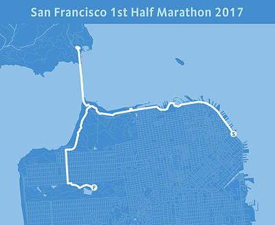 San Francisco Marathon Digital Art - San Francisco 1st Half Marathon Blue by Big City Artwork