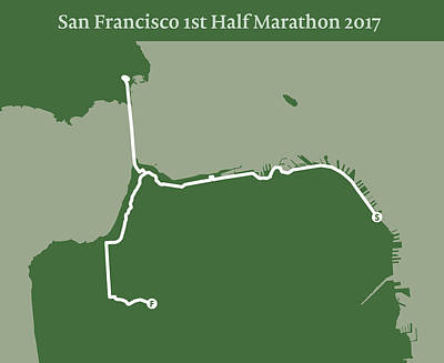 San Francisco Marathon Digital Art - San Francisco 1st Half Marathon Line by Big City Artwork