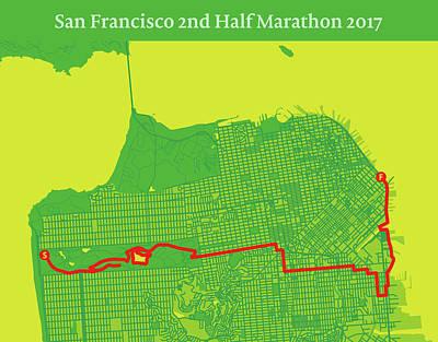San Francisco Marathon Digital Art - San Francisco 2nd Half Marathon #2 by Big City Artwork