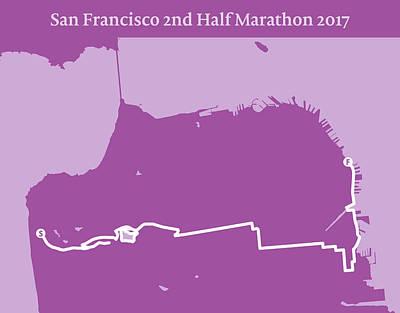 San Francisco Marathon Digital Art - San Francisco 2nd Half Marathon Line by Big City Artwork