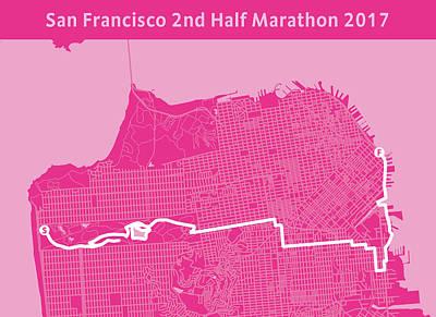 San Francisco Marathon Digital Art - San Francisco 2nd Half Marathon Magenta by Big City Artwork
