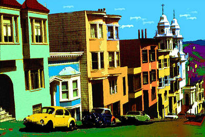 Painting - San Francisco Pop Art In Blue Green Red Yellow by Art America Gallery Peter Potter