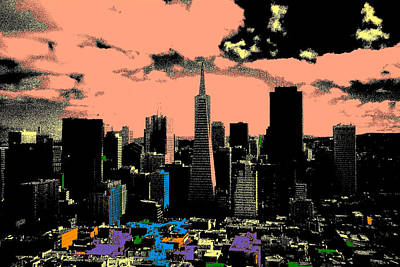 Painting - San Francisco Skyline - Pop Art by Art America Gallery Peter Potter