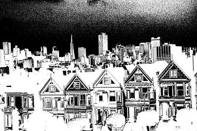 Drawing - San Francisco Alamo Square - Ink by Art America Gallery Peter Potter
