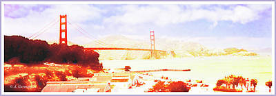 Digital Art - San Francisco Bay, Golden Gate Bridge by A Gurmankin