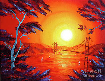 Surreal Art Painting - San Francisco Bay In Bright Sunset by Laura Iverson