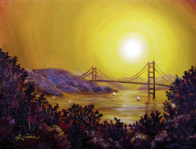 Painting - San Francisco Bay In Golden Glow by Laura Iverson