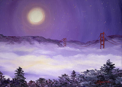 Visionary Art Painting - San Francisco Bay In Purple Fog by Laura Iverson