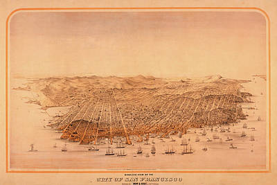 Digital Art - San Francisco Bird's Eye View Historical Map by Toby McGuire
