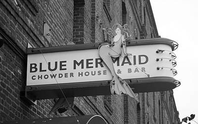 Photograph - San Francisco Blue Mermaid Bw by Frank Romeo