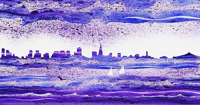 Abstract Skyline Rights Managed Images - San Francisco Blues City Skyline Royalty-Free Image by Irina Sztukowski