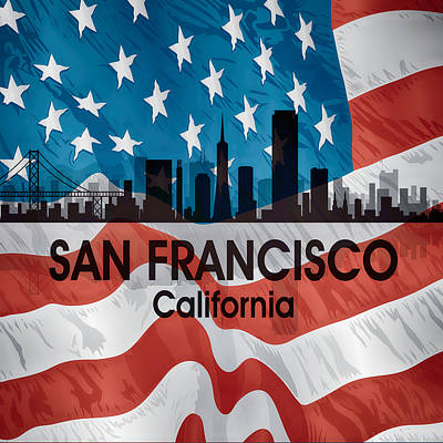 Digital Art - San Francisco Ca American Flag Squared by Angelina Vick