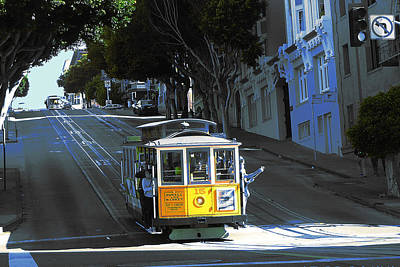 Photograph - San Francisco - Yellow Cable Car by Art America Gallery Peter Potter